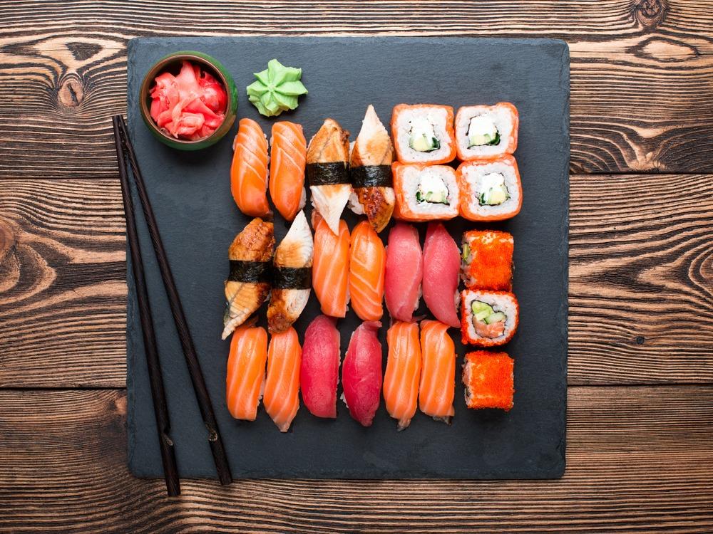wijn en sushi